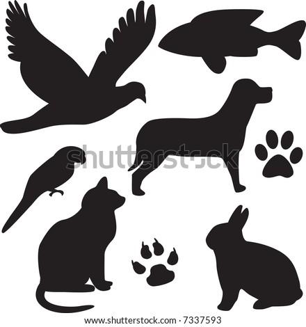 vector domestic pets silhouettes