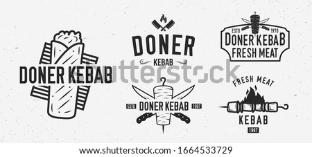 Vector Doner Kebab logo set. 5 Vintage Kebab restaurants emblems. Fast food labels, emblems, logo. Kebab, meat store, restaurant, kebab cafe. Shashlik Logo template.