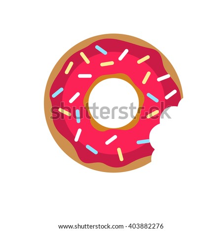 Vector donut with pink cream icon.