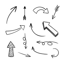 Vector Doodle Arrows, Black Drawings Set Isolated on White Background.