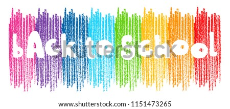 Vector doodle Back to School words over multicolor crayon strokes. Hand drawn illustration isolated over white background.