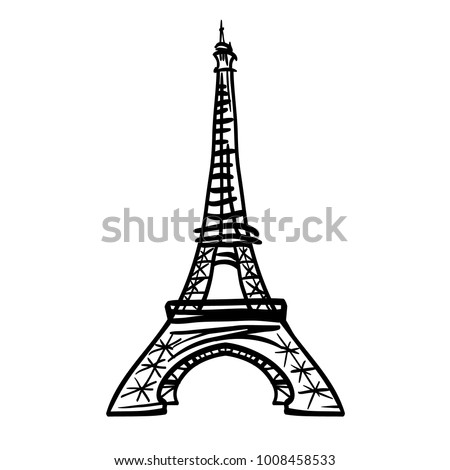 vector doodle black eifel tower