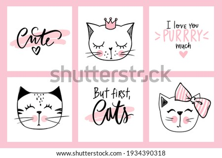 Vector doodle cats illustrations and kitten quotes. Cartoon animals. Cute kitty in sketch style for t-shirt print, cards, poster. Kids animals series. Funny character.