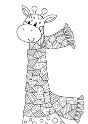 Vector doodle coloring book page cute giraffe dressed in the scarf. Anti-stress for adults and children