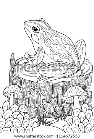 Vector doodle coloring book page frog on the stump in the forest. Anti-stress for adults and children