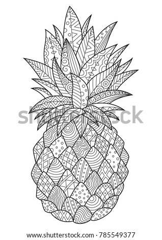 Vector doodle coloring book page tropic fruit pineapple (ananas). Anti-stress for adults.