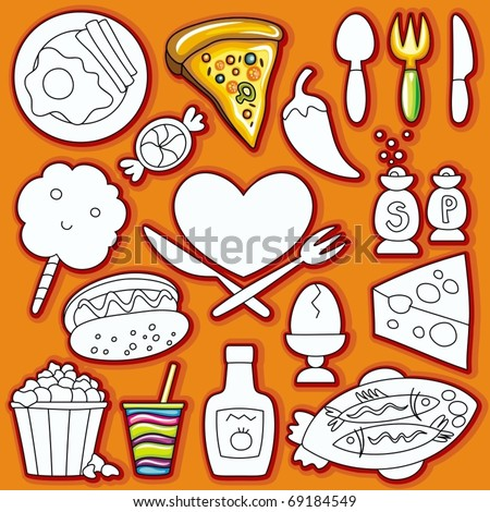 Vector doodle cute set of  food icons.