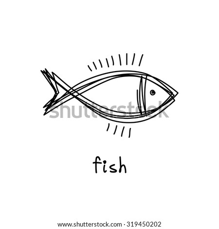 Vector doodle fish icon. Logo design template. Cute hand drawn childish linear illustration for print, web
