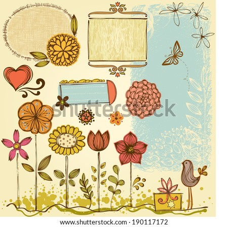 vector doodle floral and frames ...