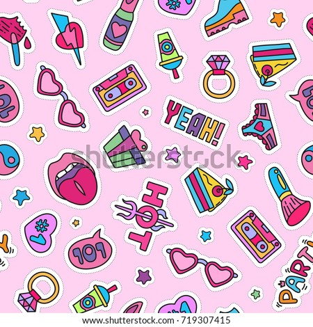 vector doodle girly party