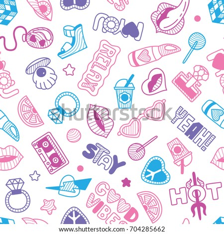 vector doodle girly seamless