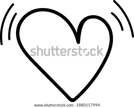 Vector doodle hand drawn heart shape isolated on white background. Valentine's day card design. Heart beating icon. Love and romance design element. Stock photo ©