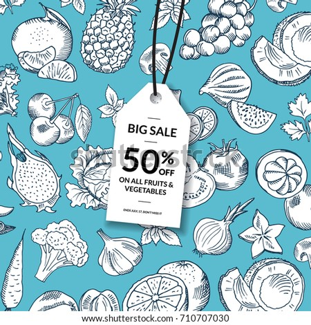 Vector doodle handdrawn fruits and vegetables healthy food sale tag