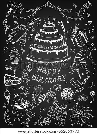 vector doodle happy birthday