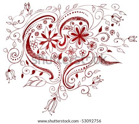 vector doodle heart design