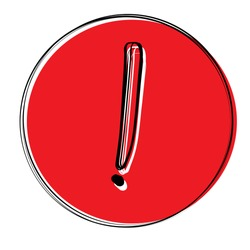 Vector doodle icon with an exclamation mark. Black and white icon on a red background with an exclamation mark. Attention, caution, anxiety. Graphic, web design. Hands drawn, sketch symbol