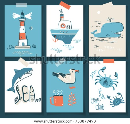 Vector doodle illustration. North sea. Scandinavian style. Ready cards with lighthouse, boat, marine animals, whale, killer whale, crabs gull fish sea symbols