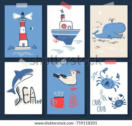 Vector doodle illustration. North sea. Scandinavian style. Ready cards with lighthouse, boat, marine animals, whale, killer whale, crabs, gull, fish, sea symbols.