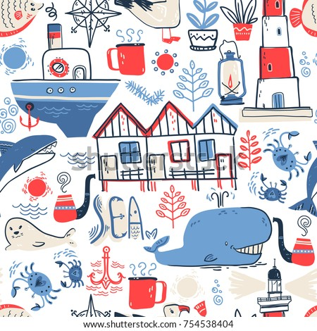 Vector doodle illustration. North sea. Scandinavian style. Seamless pattern with lighthouse, boat, marine animals, whale, killer whale, crabs, gull, fish, sea symbols.