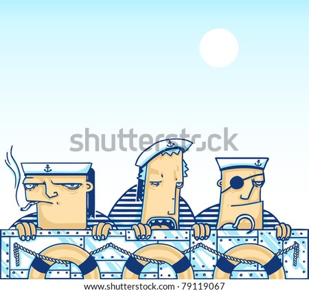 vector doodle illustration with three sailors on the iron ship with lifebuoys