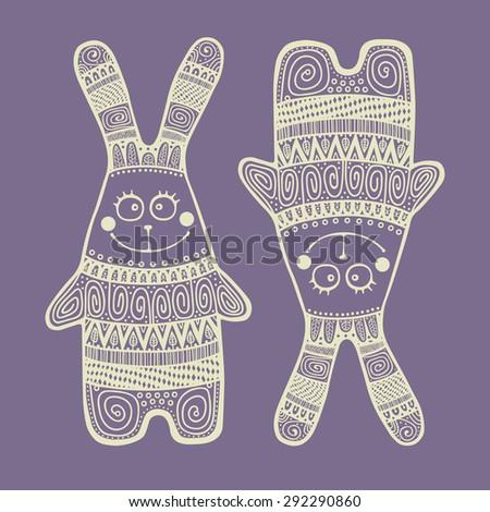 vector doodle indian rabbit