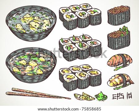 vector doodle japanese cuisine