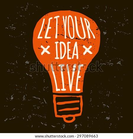 Vector doodle lightbulb, orange grunge conceptual print on black background