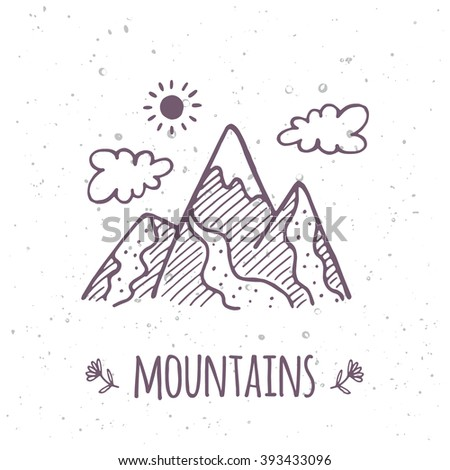 vector doodle mountain poster