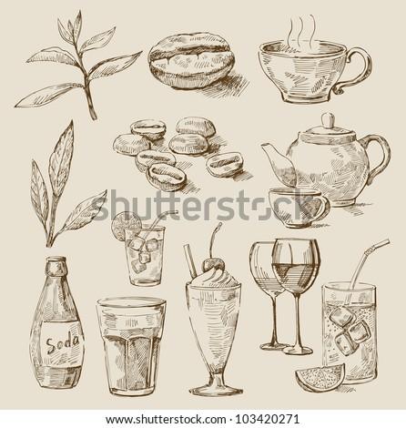vector doodle of fresh beverages