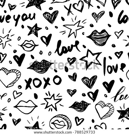 Vector doodle romantic seamless pattern. Black and white watercolor, ink, marker hearts, love, lips, kisses. Trendy design concept for fashion textile print, wrapping and valentines day backgrounds.