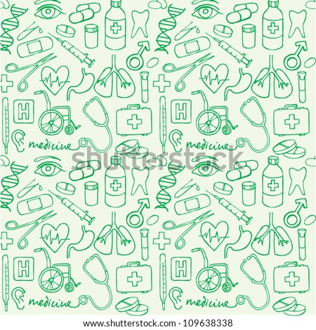 Vector doodle seamless illustration Medicine icons