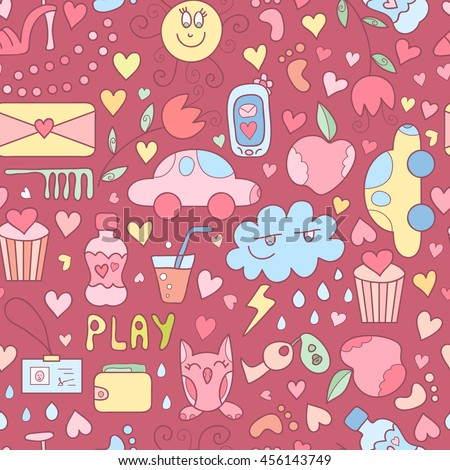 vector doodle seamless pattern with sweets flowers toy car bottle