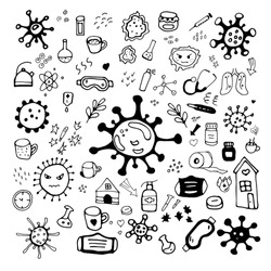 Vector doodle set about coronavirus, Covid-19. Stay home, walk at home, take care. Pandemic protection. Quarantine positive doodle, sketch. Icons, elements. Isolated on white background.