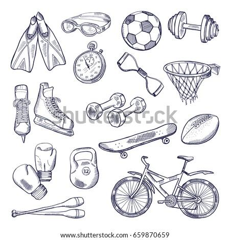 vector doodle set of sport