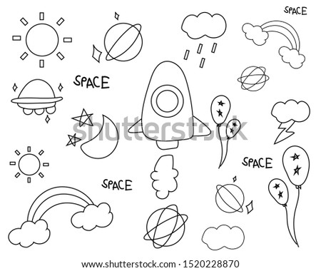 vector doodle space seamless