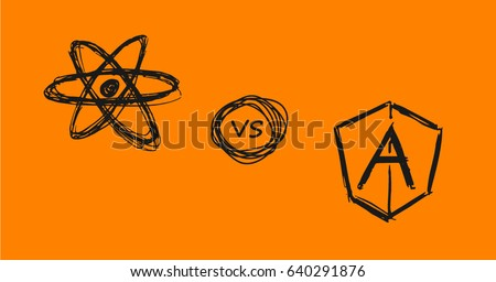 Vector doodle style React js verses Angular js symbols on orange background