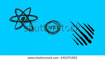 Vector doodle style React js verses Meteor js symbols on blue background