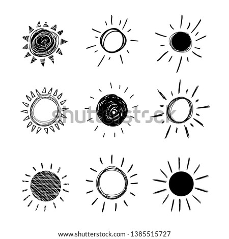 Vector Doodle Sun, Set of Hand Drawn Black Icons Isolated on White Background,.