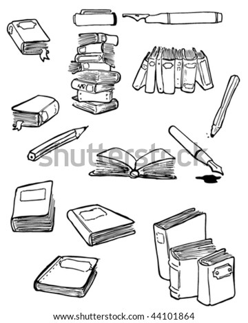 Vector doodles of books and writing things.