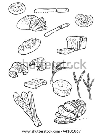 Vector doodles of bread and bread things.