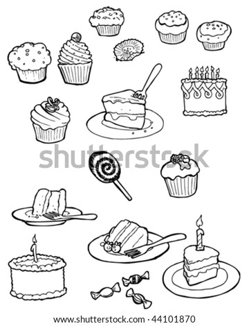 Vector doodles of delicious cakes.