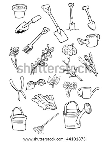 Vector doodles of garden tools and gardening things.