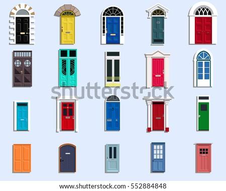 Vector Doors Set Ancient, VIntage, Modern Doors Flat Design