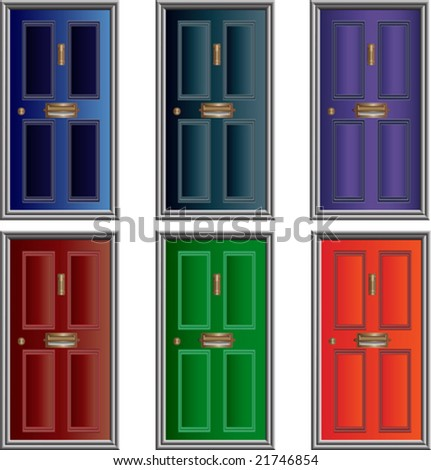 Vector Doors with open letterboxes