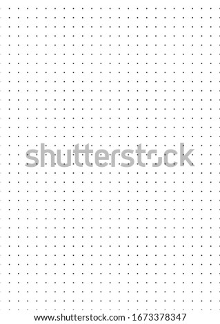 Vector dot A4 format template illustration. Dark dots and circles for design concepts, notes, sheets of paper, books, posters, banners, web and presentations. Dot size is 10 pixels.