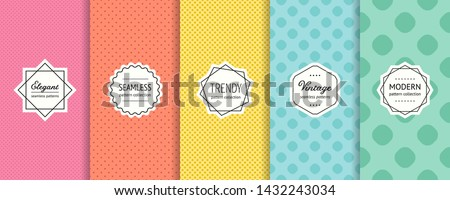 Vector dots seamless patterns collection. Set of colorful background swatches with elegant minimal labels. Abstract textures with circles, polka dot design. Pink, red, yellow, blue, green color
