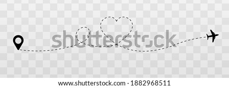 Vector dotted hearts. Honeymoon trip, honeymoon, airplane dotted tracks. Dotted lines png, heart png, travel by plane. The love route. Vector.