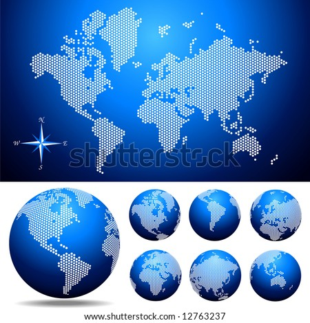 Vector dotted Map and Globe of the World Easy change colors.