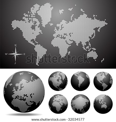 Vector dotted  Map and Globe of the World. Easy change colors. - stock vector