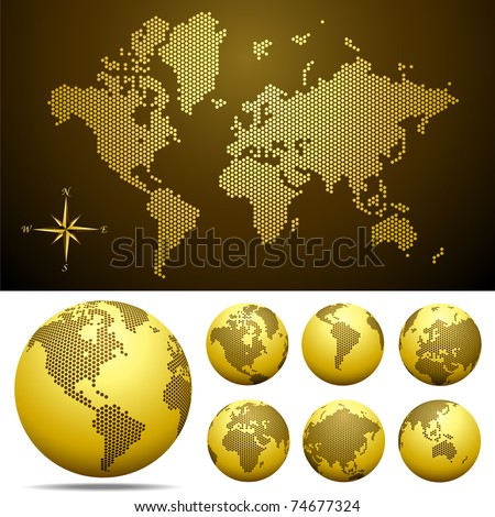 Vector dotted Map and Globe of the World Gold Easy change colors Eps8